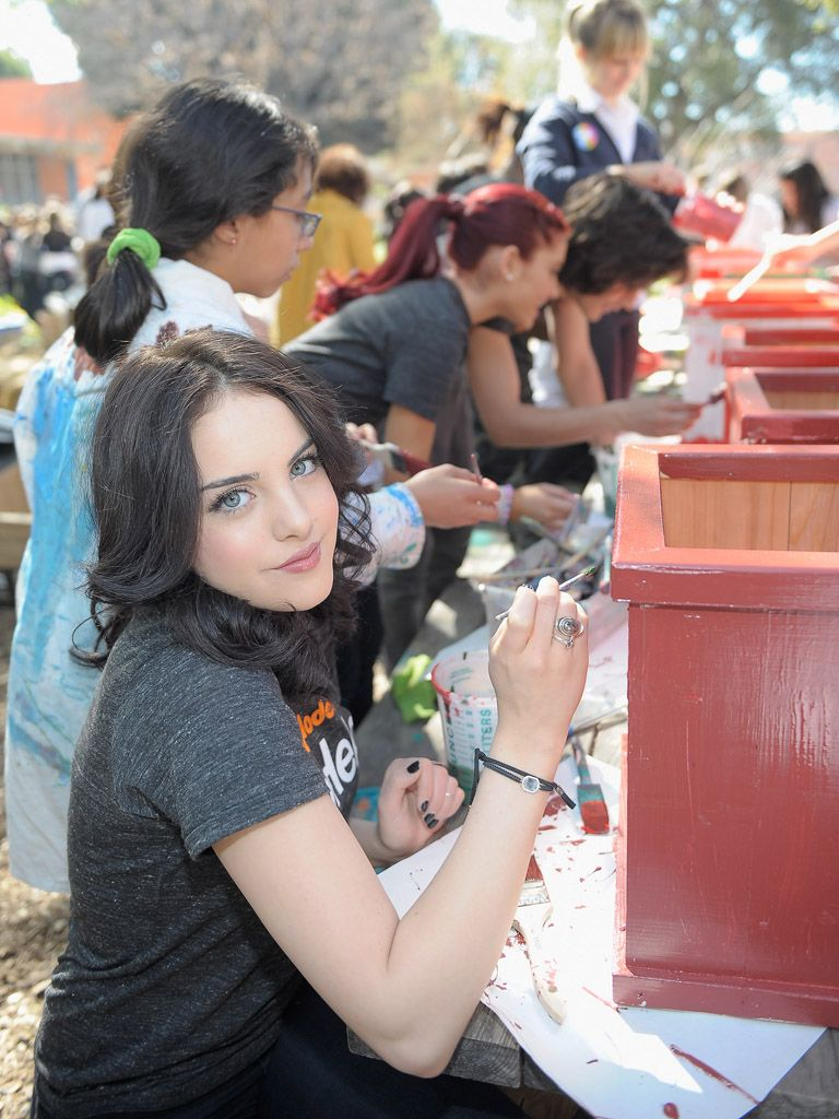 Red and Ready|Not only is Liz Gillies a talented musician, she's a great painter and a Big Help to those in need!