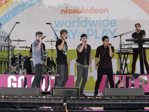 Worldwide|Big Time Rush belted out their hit, Worldwide, at Worldwide Day of Play. Hey, if the shoe fits!