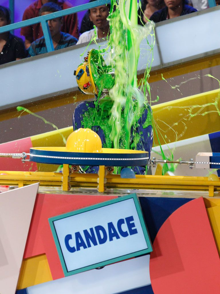 Super Slime|Candace got hit so good her hard hat got slimed right off! There goes having head protection.