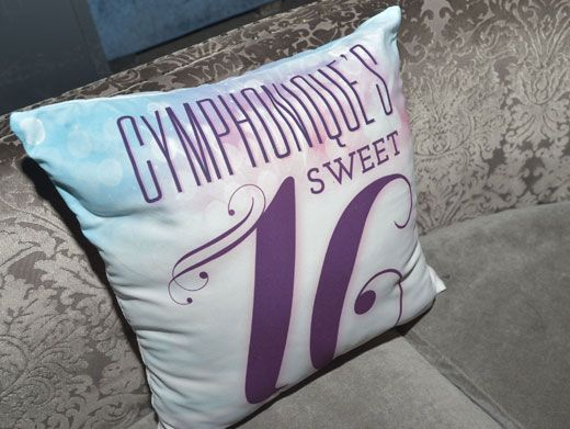 The Princess' Pillow|Cymphonique decked out the sofas at her party with customized pillows! So adorable!