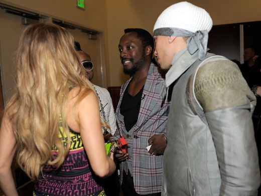 Group Huddle|The Black Eyed Peas met up backstage for a pow-wow after they wowed us on the KCA stage!