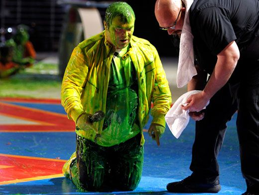 You Missed A Spot|Jack Black makes sure the stage isn't slippery with slime for fellow stage-walkers while on a show break.