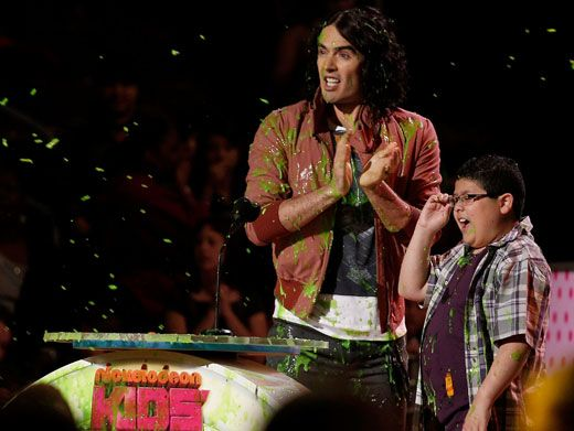 Slime Crime|Russell Brand and Rico Rodriguez got slime thrown on them from the audience while presenting for Favorite Voice From An Animated Movie. Hey, cut that out!