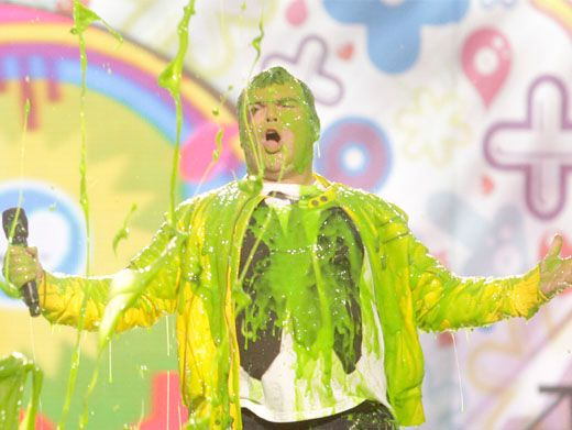 Jack Blast|KCA 2011 host Jack Black gets hit with a dollop of slime so thick, rich and supernaturally green that he's almost unrecognizable.