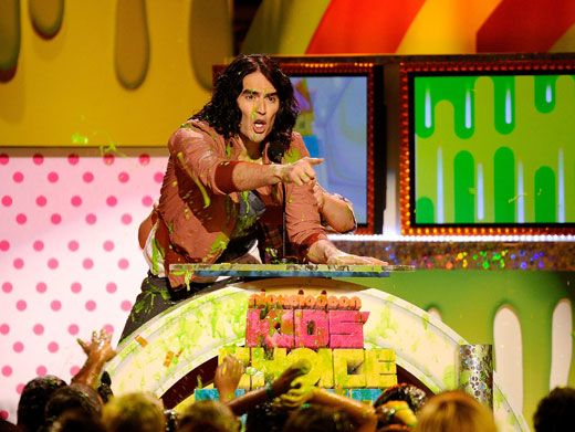 Fussy Russy|Russell Brand was NOT amused when audience members decided to attack him with slime!