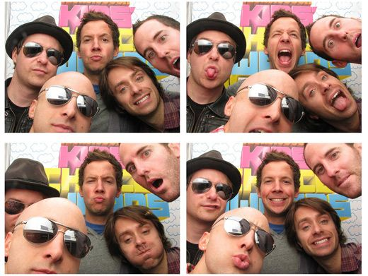 We've Got A Plan!|The band members of Simple Plan take a pit stop in the KCA photo booth to snap some silly band photos. Their next album cover, perhaps?