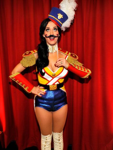 Silly Soldier|It looks like Katy went out and joined the silly-Perry military! And what's with the funny 'stache? LOL!