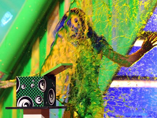 Slime-plosion!|Poor Katy Perry never saw it coming. Hehehe.