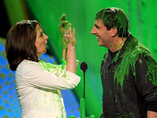 Slime-language|Tina Fey signs a slippery message to Steve Carell.