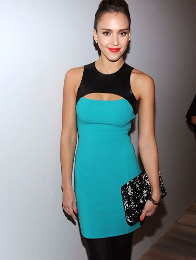 Rock the Blocks|Jessica Alba is stunning in this mod color-block dress. This girl is definitely up to date on style.