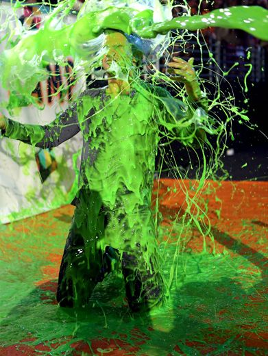 KCA 2012: Taylor Lautner Slime Explosion|Sometimes a slime blast is so sudden and so powerful, that even a muscle man can't stand up to it.