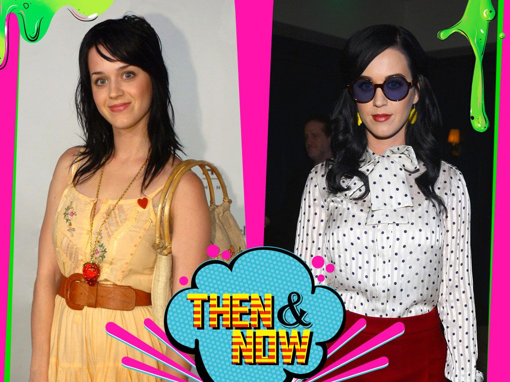 Katy Perry|Katy went from bubbly bohemian to posh and polished, but luckily slime goes with everything!