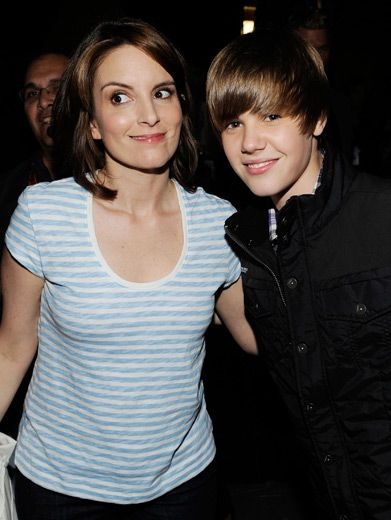 Tina Fey & Justin Bieber|The 30 Rock star and the 5 foot stud get goofy backstage at the KCAs. Can you guess which one was there to get slimed?