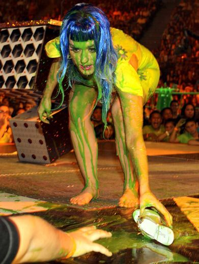 Slime Impact|Katy Perry got hit so hard with slime, she was separated from her shoes.