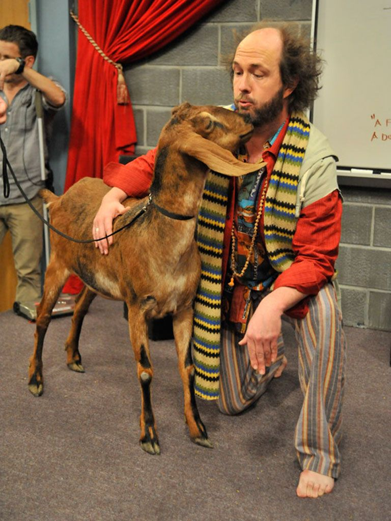 Kissy Goat|In other April Fools Blank news, Sikowitz made friends with a super sweet goat. This teacher's pet even gave him a smooch to seal the deal!