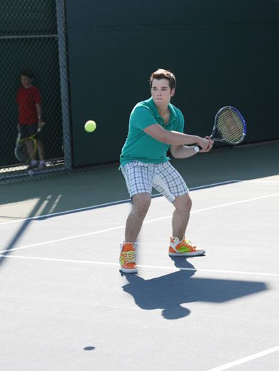 You Got Served!|Nathan Kress was acing the competition during this on-screen tennis match. Look out Serena!